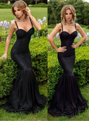 Alluring Black Sweetheart Mermaid Prom Dresses Spaghetti-Straps Lace Evening Dress_2