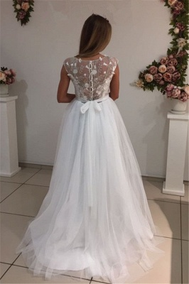 Cap Sleeves A-Line Tulle Gorgeous Appliques White Wedding Dresses_4
