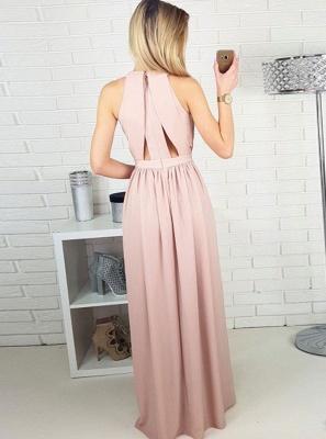 Simple Pink A-line Evening Gowns | Halter Neck Ruched Slit Formal Dresses_3