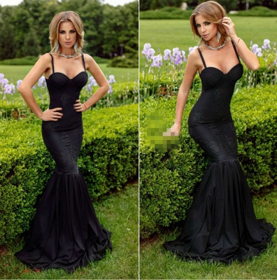 Alluring Black Sweetheart Mermaid Prom Dresses Spaghetti-Straps Lace Evening Dress_3