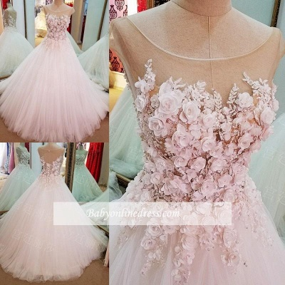 Cap Sleeves Flowers Lace-Up Ball-Gown Luxury Wedding Dresses_1