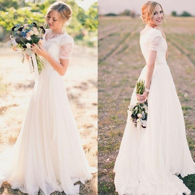 Chiffon Lace Short-Sleeves A-line Modest V-neck Popular Wedding Dresses_3