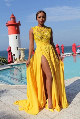 Yellow Chiffon Prom Dresses Thigh-High Slit Sexy Summer Evening Gowns_3