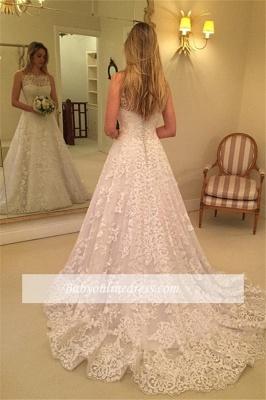 Sweep-Train Lace Buttons Spaghetti-Straps Sleeveless Wedding Dress_1