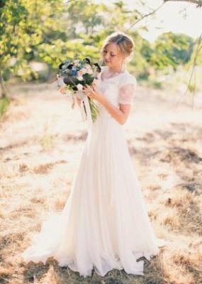 Chiffon Lace Short-Sleeves A-line Modest V-neck Popular Wedding Dresses_2
