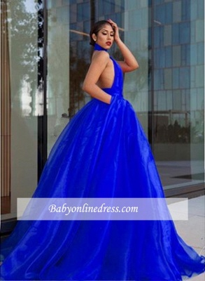 Tulle Royal-Blue High-Neck Evening Dress_1