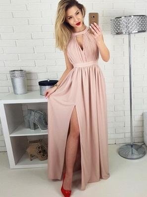 Simple Pink A-line Evening Gowns | Halter Neck Ruched Slit Formal Dresses_1