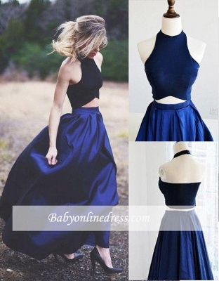 Elegant Two Piece Evening Gowns Navy Blue Puffy Prom Dresses_1