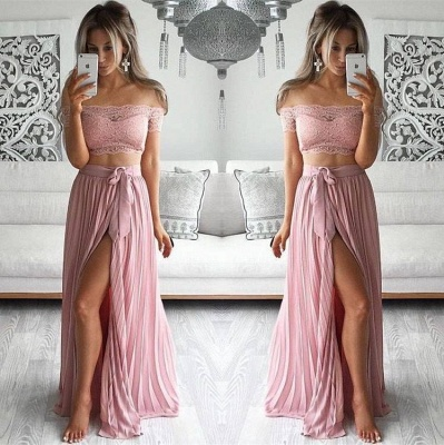 Two Piece Prom Dresses Lace Top Off the Shoulder Short Sleeves  Sexy Evening Gowns_2