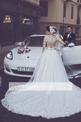 Gorgeous Tulle Appliques Wedding Dress Long-Sleeves Bridal Ball Gowns_1