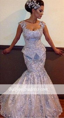 Open-Back Mermaid Sleeveless Appliques Sparkly Amazing Sequins Evening Dresses_3