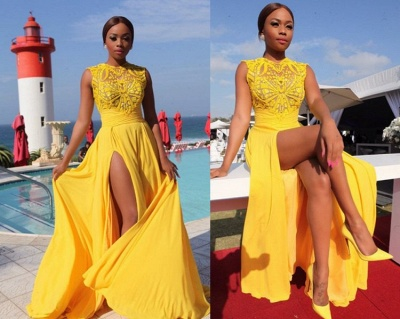Yellow Chiffon Prom Dresses Thigh-High Slit Sexy Summer Evening Gowns_4