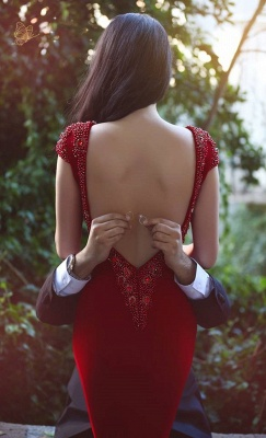Red Fit and Flare Evening Gowns V Neck Beading Backless Luxury Formal Prom Dress_4