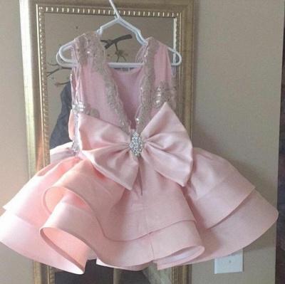 Pink Short Ruffles Skirt with Bowknot Flower Girl's Dresses_3