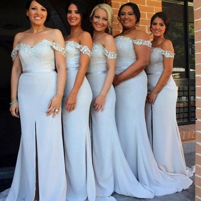 Elegant Mermaid Off-the-Shoulder Bridesmaid Applqiues Front-Split Wedding Guest Dresses_1