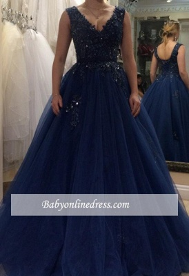 Beading Tulle Applique A-line V-neck Floor-length Evening Dress_3