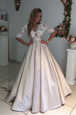 Half-Sleeves A-Line Gorgeous Puff Illusion Appliques Lace Wedding Dresses_2