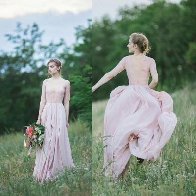 Sheer Lace Chiffon Bridesmaid Dresses Half Long Sleeves Ruffles Long Maid of Honor Dresses_5