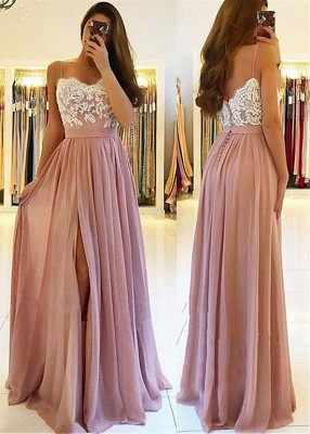 Elegant Side-Slit A-Line Evening Dresses | Spaghetti Straps Lace Appliques Long Prom Dresses_3