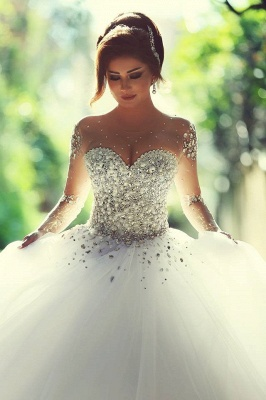 Sweetheart Crystals Ball Gown Wedding Dresses Sheer Long Sleeves Bridal Gowns_2