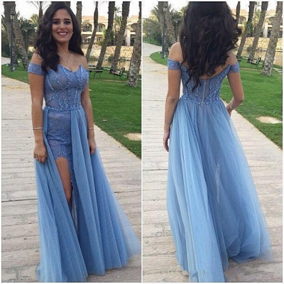 Side Split Long Prom Dresses Off the Shoulder Blue Sexy Evening Gowns_3