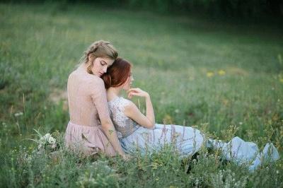 Sheer Lace Chiffon Bridesmaid Dresses Half Long Sleeves Ruffles Long Maid of Honor Dresses_4