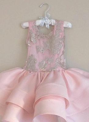 Pink Short Ruffles Skirt with Bowknot Flower Girl's Dresses_4