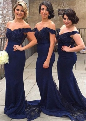 Off-the-Shoulder Mermaid Bridesmaid Dresses Lace Sexy Party Dress with Beadings_3