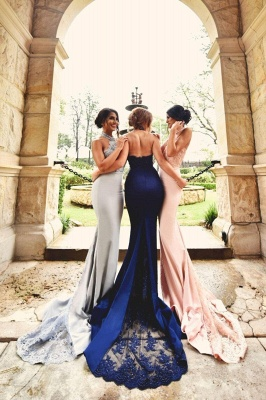 Halter Neck Bridesmaid Dresses Lace Appliques Open Back Sexy Wedding Party Dress_5