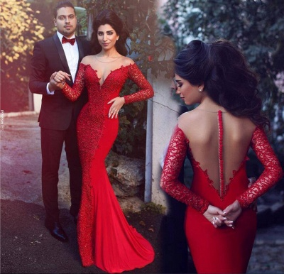 Red Mermaid Prom Dresses Long Sleeves Lace Formal Evening Gowns_3
