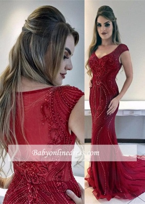 Cap-Sleeves Red Mermaid Gorgeous Prom Dress | Sexy Evening Dresses_3