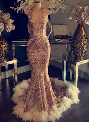 Halter Neck Appliques Mermaid Prom Dresses | Sexy Champagne Feather Evening Dresses_1