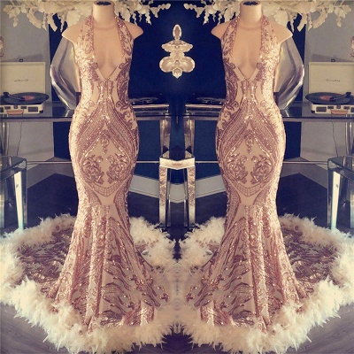 Halter Neck Appliques Mermaid Prom Dresses | Sexy Champagne Feather Evening Dresses_2