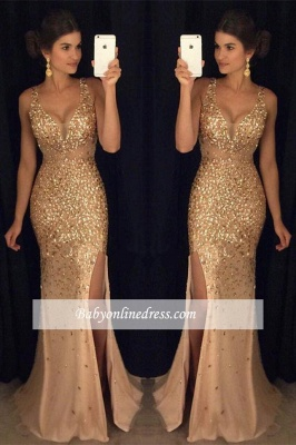 2018 Gorgeous Mermaid Front-Split Sleeveless Crystals Straps Long Prom Dress BA4376_3