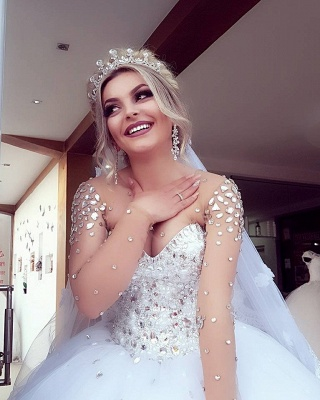 Jewel Long-Sleeves Ball-Gown Crystals Brilliant Wedding Dresses_3