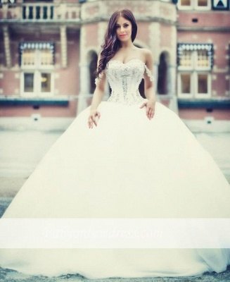 Off-the-Shoulder Ball Gown Sweetheart Neck Wedding Dresses with Beadings_4