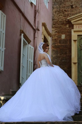 Sweetheart Crystals Ball Gown Wedding Dresses Sheer Long Sleeves Bridal Gowns_4