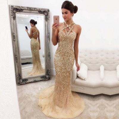 Mermaid Zipper-Back Crystals Gorgeous Halter Sleeveless Prom Dress_3