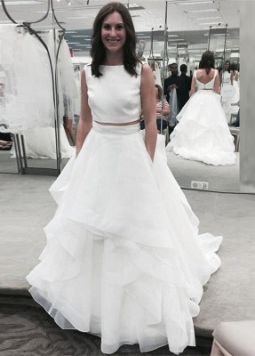 White Two Piece Jewel A-line Bridal Gowns Sleeveless Ruffles Wedding Dress_2