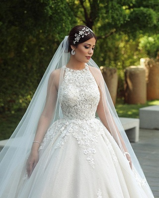 Princess Halter Sleeveless Applique Ball Gown Wedding Dresses | Lace Open Back Bridal Gown_3