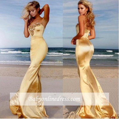 Crystals Sweetheart Sleeveless Sexy Sweep-Train Mermaid Prom Dress_3