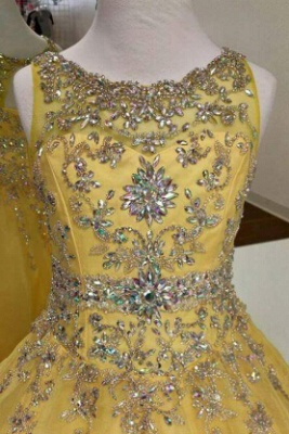 Glamorous A-Line Organza Flower Girl Dresses Crystal Floor Length Party Dresses_2