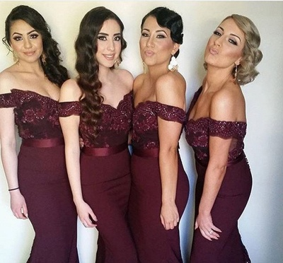 Off-the-Shoulder Mermaid Bridesmaid Dresses Lace Sexy Party Dress with Beadings_2