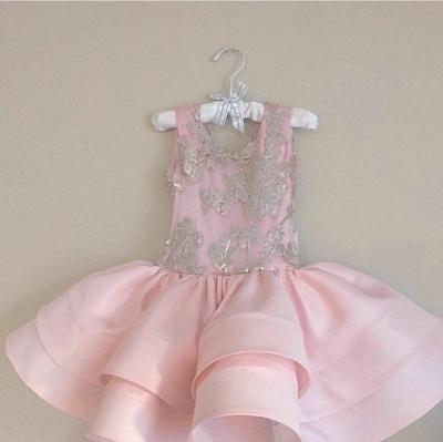 Pink Short Ruffles Skirt with Bowknot Flower Girl's Dresses_1