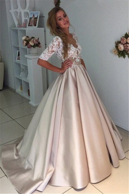 Half-Sleeves A-Line Gorgeous Puff Illusion Appliques Lace Wedding Dresses_3