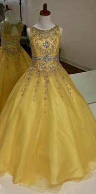 Glamorous A-Line Organza Flower Girl Dresses Crystal Floor Length Party Dresses_1