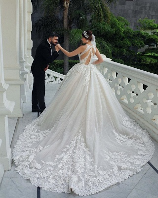 Princess Halter Sleeveless Applique Ball Gown Wedding Dresses | Lace Open Back Bridal Gown_5