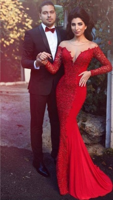 Red Mermaid Prom Dresses Long Sleeves Lace Formal Evening Gowns_1