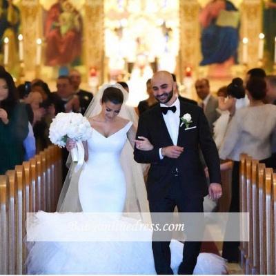 Gorgeous White Tulle Bridal Gowns | V-Neck Mermaid Wedding Dresses_1