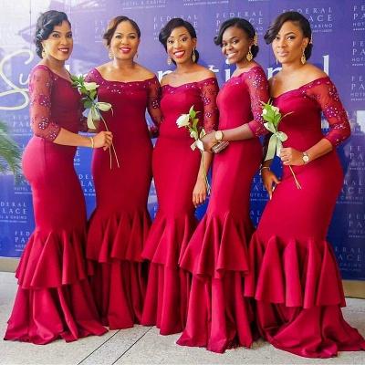 Elegant Red Long Sleeves Mermaid Off-the-Shoulder Tiered Bridesmaid Dress with Beadings_3
